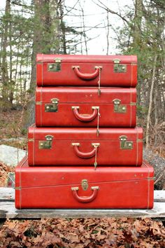 Love: Vintage Leather Luggage Set of 4 Cowhide Keyed via Etsy.