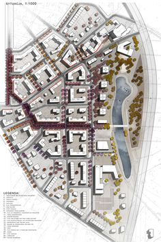 Urban project: masterplan for Siekierki district by Karolina Pajnowska, via… Urban Design Diagram, Urban Design Plan, Plan Design, Design Ideas, Landscape And Urbanism, Urban Landscape, Landscape Design, Urban Architecture, Architecture Drawings