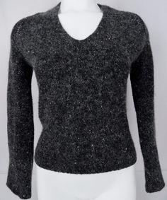 Lafayette 148 NY Wool Cashmere Angora Sweater Womens M Black Gray V-Neck LS Soft #Lafayette148NewYork #VNeck #Any