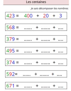 Etude des nombres - Les centaines - Teacher Destiny Best Picture For Montessori Education videos For Your Taste You are looking for something, and it is going to tell you exactly what you are looking Math Addition Worksheets, Kindergarten Math Worksheets, Math Activities, Math Sheets, Math School, 1st Grade Math, Math For Kids, Writing, Construction