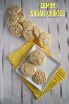 These chewy lemon cookies use fresh lemon juice. An easy lemon sugar cookie recipe for summer, glaze optional. Lemon Desserts, Lemon Recipes, Cookie Desserts, Sweet Recipes, Cookie Recipes, Delicious Desserts, Yummy Treats, Sweet Treats, Dessert Recipes