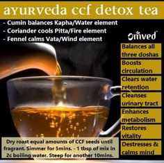 "Ayurveda CCF Detox Tea : "" CCF stands for Cumin, Coriander and Fennel, the trifecta of healing spices. Strain and pour into a thermos so it will stay warm. Sip throughout the day. Quick, easy, economical and effective way to DETOX and bring your body back into BALANCE! "" *** Subscribe via email for more […]"
