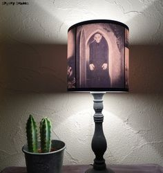 Nosferatu Lampshade lamp shade - lighting, Halloween decor, goth decor, classic horror movie, vampire, gothic decor, morbid,sepia, cool gift