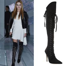 Bella Thorne wears these Versace Suede Lace-Up High Knee Boots at the Versace Fashion Show at the Milan Fashion Week.