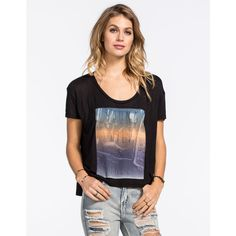 Full Tilt Young Wild Free Womens Tee ($9.97) ❤ liked on Polyvore featuring tops, t-shirts, black, short sleeve scoop neck tee, black tee, loose t shirt, short sleeve graphic tees and scoop neck t shirt