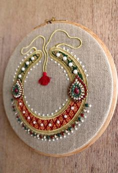 Hoop art Indian Jewellery machine embroidery linen with   Etsy