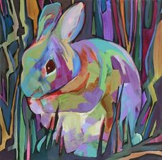 Daily Painting, Among the Grasses, contemporary abstracted rabbit, painting by artist Carolee Clark