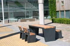 Picnic table / outdoor / contemporary / hardwood - CUBIC - Grijsen park & straatdesign - Videos