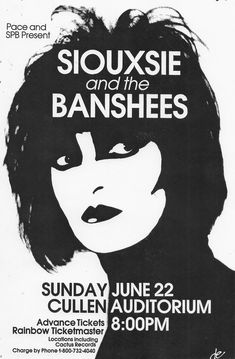 Siouxsie & The Banshees concert poster.