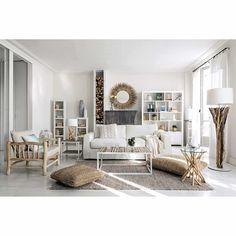 Witte metalen en houten salontafel L 100 cm