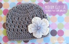 Medium Cluster Crochet Baby Hat with Flower {Free Pattern} | The Floating Lily Pad