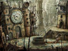 Machinarium - The Steampunk Empire reminds me of the Boxtroll artist Steampunk City, Ville Steampunk, Steampunk Kunst, Steampunk Ship, Watercolor Wallpaper Iphone, Iphone Wallpaper Fall, City Wallpaper, Wallpaper Maker, Computer Wallpaper