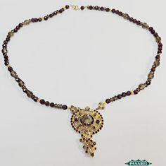 Pasarel - 9k Yellow Gold Smokey Topaz & Garnet Necklace $995