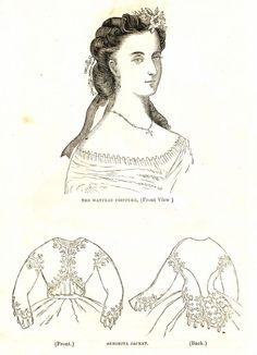 Civil War Fashions - Engravings from 1864 Ladies Friend Magazine - Hair Style