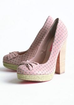 Betsey Johnson blush platform heels with gray polka dots, a stacked textured heel, a cute bow at the toe, jute-wrapped platform, and a hot pink floral print with a Betsey Johnson golden heart crest in the middle of the underside