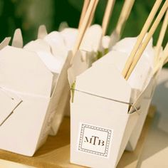 Treat-Filled Take-Out Boxes We love the idea of handing out take-out boxes (complete with your monogram!) for guests to fill up and take home. Package them ahead of time or let guests pick what they want from a dessert bar.