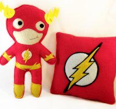 Superhero SET - Flash theme - pillow and plushie on Etsy, $35.13