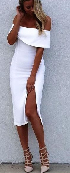 White Bodycon Dress Split Off-The-Shoulder Rayon Party Dress online fashion destination for dresses, tops, pants, swimwear, and more. Shop every trend online # Source by ootdfashionoutfits Bodycon Dresses Sexy Dresses, Cute Dresses, Beautiful Dresses, Short Dresses, Bandage Dresses, Midi Dresses, Party Dresses, Event Dresses, Moda Australiana