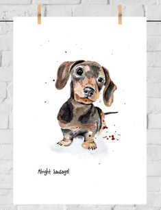 High quality Fine Art Gicleé PRINT created from my original watercolour painting. Available in a variety of sizes from inc free UK del. for full details click the link to visit my website. Animal Drawings, Fine Art Giclee Prints, Dachshund Art, Animal Paintings, Canvas Art, Dog Drawing, Watercolor Paintings For Beginners, Watercolor Dog, Watercolor Paintings Of Animals
