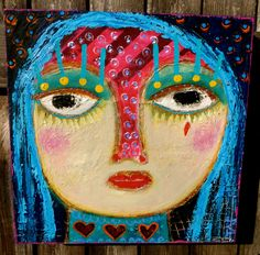 """One Red Tear"" an acrylic/mixed media painting on wood. Tracey Ann Finley"