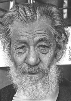 Pencil Portraits - portrait - Discover The Secrets Of Drawing Realistic Pencil Portraits.Let Me Show You How You Too Can Draw Realistic Pencil Portraits With My Truly Step-by-Step Guide. Realistic Pencil Drawings, Pencil Drawing Tutorials, Amazing Drawings, Art Drawings, Portrait Au Crayon, Pencil Portrait, Portrait Photo, Art Visage, Ian Mckellen
