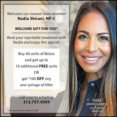 Help us welcome our newest team member — Nadia Shirani, NP-C And, we have a welcome gift for YOU!! Book your injectable treatment with Nadia and enjoy one of these two specials: Buy 40 units of Botox and get up to 10 additional FREE units OR Get $100 OFF any one syringe of fillers This is a limited offer (good through 10/31/2020). So call now to scheduled 312.757.4505 Plastic Surgery Procedures, Welcome Gifts, Team Member, The Unit, Books, Free, Stuff To Buy, Libros, Book