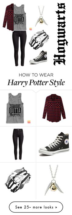 """Welcome To The Wizarding World"" by inspirationstrikes on Polyvore featuring LE3NO and Converse"