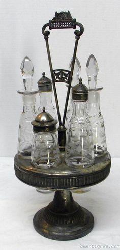 Antique Victorian 6 Bottle Etched Cruet Set Meriden Silverplate Circa 1880'S | eBay