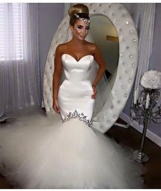 2016 New White Sexy Mermaid Wedding Dress Sweetheart Appliques Satin Floor-Length Wedding Party Dress Bridal Gowns