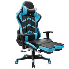 Furmax Gaming Chair High Back Racing Chair, Ergonomic Swivel Computer Chair Executive PU Leather Desk Chair With Footrest, Bucket Seat and Lumbar Support (Blue) - Products Lists of Tools and Hardware Chaise Gaming, Pc Gaming Chair, Gamer Chair, Gaming Setup, Reclining Office Chair, Swivel Chair, Chair Cushions, Ikea, Office Chair Without Wheels