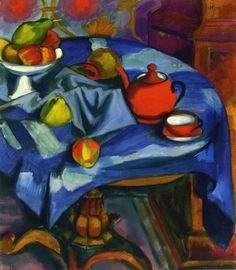 Hermann Max Pechstein (German:1881-1955) - The Red Tea Set