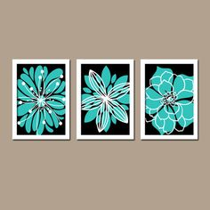 Turquoise Black Wall Art, CANVAS or Prints Bedroom White Flower Burst Outline Dahlia Floral Bloom Set of 3 Bathroom Home Decor