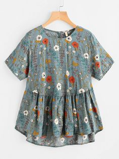Shop Botanical Print Keyhole Back Dip Hem Smock Blouse online. SheIn offers Botanical Print Keyhole Back Dip Hem Smock Blouse & more to fit your fashionable needs. Love Fashion, Womens Fashion, Green Blouse, Floral Blouse, Floral Tops, Mode Inspiration, Short Sleeve Blouse, Romwe, Smocking