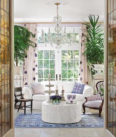 """Interior designer @FlorencedeDampierre selected a palette of many purples for the conservatory she designed for her #Litchfield, Connecticut Greek Revival house. While the colors contribute a fresh, modern appeal, de Dampierre cites #TsarinaAlexandra's bedroom in the #Pavlosk palace as her inspiration. """"Her bedroom was a very pretty shade of lavender, which is hard to achieve. If you don't get the right color, it looks horrible."""" The conservatory's walls are painted a soft lilac shade that…"""