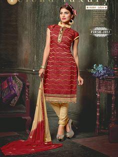 Shonaya Maroon Colour Chanderi Silk & Banarasi Silk Embroidery Dress material