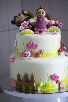Masha and the Bear Birthday Cake Visit my facebook page at: https://www.facebook.com/Art-Cakes-Sweets-1124467107591045/