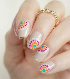 There are three kinds of fake nails which all come from the family of plastics. Acrylic nails are a liquid and powder mix. They are mixed in front of you and then they are brushed onto your nails and shaped. These nails are air dried. Dot Nail Designs, Nail Designs Spring, Nails Design, Easy Nail Designs, Dot Nail Art, Polka Dot Nails, Polka Dots, Cute Nails, Pretty Nails