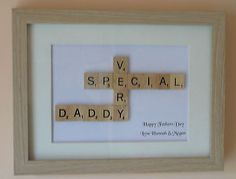 PERSONALISED SCRABBLE ART STYLE PICTURE GIFT DAD GRANDAD UNCLE  MUM GRANDMA AUNT