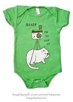 """Film is not dead! Check out this: """"Ready For My Close Up"""" Camera Cat Onesie - Baby Onesie (Green) at boygirlparty"""