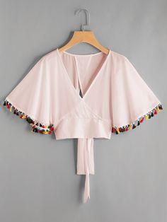 Shop Surplice Neckline Fringe Trim Tie Back Top online. SheIn offers Surplice Neckline Fringe Trim Tie Back Top & more to fit your fashionable needs.