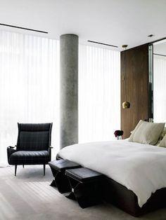 NYC apt, concrete column, wood wall