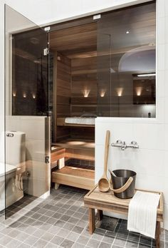 Cozy Sauna and home spa ideas Design Sauna, Home Gym Design, House Design, Sauna Steam Room, Sauna Room, Bathroom Spa, Modern Bathroom, Bathroom Ideas, Basement Bathroom