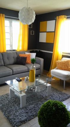 Yellow and Grey Living Room Decor. 20 Yellow and Grey Living Room Decor. Livig Room Decorating with Gray and Yellow Color From Homes Living Room Decor Colors, Colourful Living Room, Living Room Designs, Zebra Room Decor, Classy Living Room, Living Room Modern, Home Living Room, Grey And Yellow Living Room, Grey Yellow