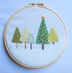 Christmas tree in the forest Hoop art by PukaluHome on Etsy, $18.00