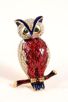 Vintage SPHINX Owl Gold Tone Brooch Pin Enamel Rhinestones Numbered #A2361 #Sphinx