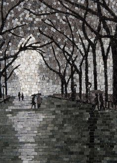 Mosaic Art is the decorative art of making pictures and patterns on a floor by way of joining small coloured pieces of glass, marble or different substances in a bed of cement, plaster or adhesive.