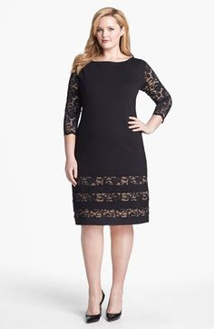 ABS by Allen Schwartz Lace Detail Sheath Dress (Plus Size) available at…