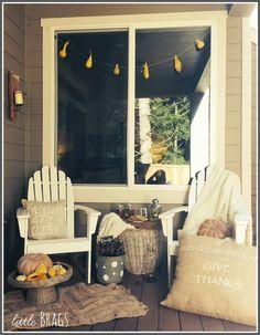 Thanksgiving Home Tour - love the gourd garland