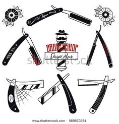 Vector Straight Razors Set Vintage Stickers Traditional Tattoo Designs Collection