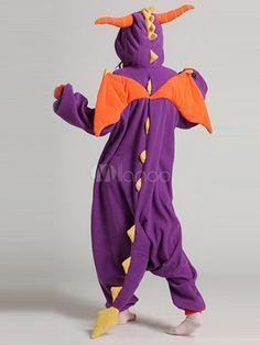 Purple Polar fleece/ Flannel Dinosaur Kigurumi Anime Costume-No.2